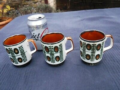 3 X Vintage BOCH Belgium 1841-1966 In Louvier Noix Hand Painted Coffee Cups • 30£