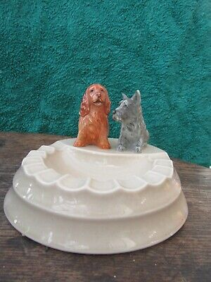Branksome China Ashtray With Spaniel And Highland Terrier • 20£
