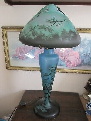 Vintage Emile Galle Reproduction Art Nouveau Cameo Table Lamp Dragonfly • 615.05£