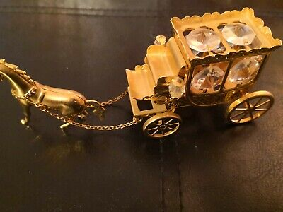 Stage Coach And Horse Crystal Ornament  • 12£