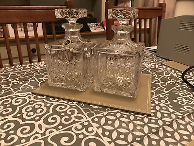 Pair Quality Full Lead Hand Cut Decanters For Whisky SQUARE • 34.99£