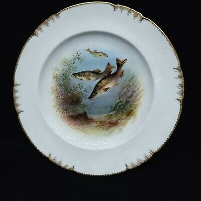 GeorgeJones Crescent China Porcelain Hand Painted Fish Plate C.1880 W.Birbeck • 12.99£
