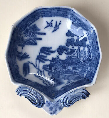 Early 19th Century Antique Blue & White Willow Pattern Pickle Dish, Spode A/f • 15£