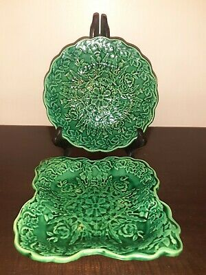 2 Green Leaf Mould Plates / Dishes Rose And Thistle Design • 16£