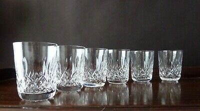 6 Waterford Crystal Lismore Cut Whisky Glasses Tumblers, Signed Old Mark H3,5  • 140£