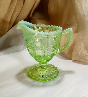 Vintage Imperial Bead & Block Opalescent Glass Creamer  Green To White • 10.97£
