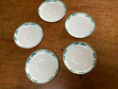 Mintons Antique Original Saucers Pattern 6124 Turquoise And Gold • 20£