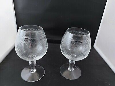 Vintage Pall Mall Lady Hamilton Crystal Glass Etched Tall Brandy Glasses X 2 • 14.99£