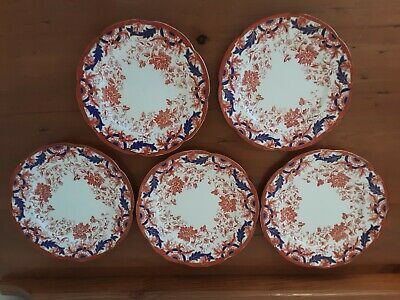 5 TEA PLATES THE FOLEY CHINA RED & BLUE NUMBERED Rd 181135 • 20£