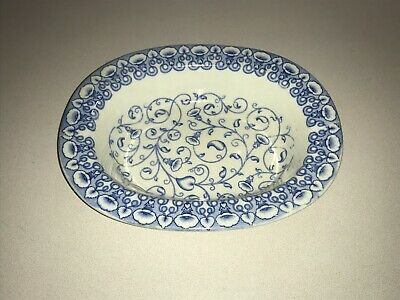 Vtg Stoneware Brown Westhead Moore Oban 394145 Blue Oval Bowl 9  X 7  • 7.36£