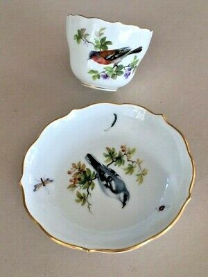 Meissen Cup & Saucer - Twisted Handle Bird & Insects Pattern  • 125£