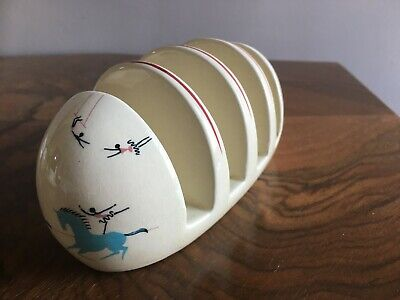 Vintage Deco 1930/50's Beswick Circus Pattern Pottery Toastrack Toast Rack VGC • 25£