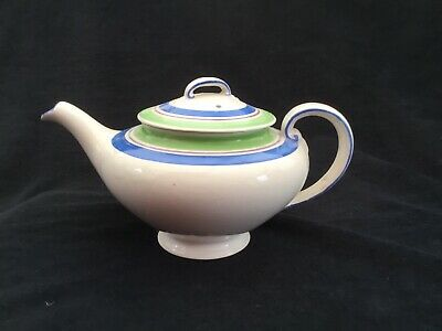 ART DECO GRAYS BANDED POTTERY TEAPOT. PROBABLY 1930s. HANDPAINTED • 22£