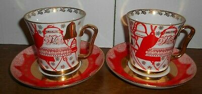 2x Lomonosov USSR Red And Gold Church Bells Festive Cup And Saucer Sets - VGC • 59.99£