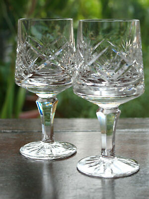TYRONE Crystal - O'NEILL Cut - Wine Glass Pair Vintage Made In Ireland • 35£