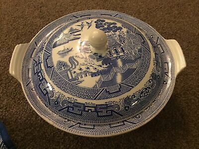 Antique Johnson Brothers Blue And White Willow China. Vegetable Tureen • 2£