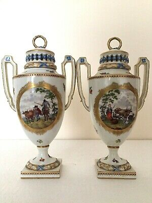 Exceptional Meissen - Dresden Porcelain Pair Of Superb Vases - Animals & People • 560£