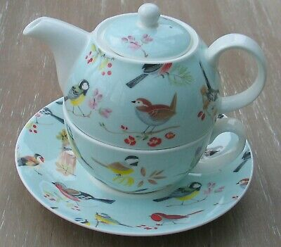 English Roy Kirkham Bone China Tea For One Teapot Cup Saucer Birds Rspb • 16£