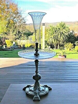 Antique Victorian Glass & Silverplate Epergne • 275£