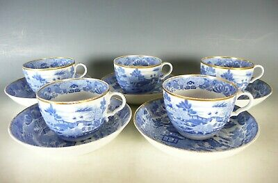 Antique Blue And White Porcelain Cups And Saucers 19thc • 5.50£