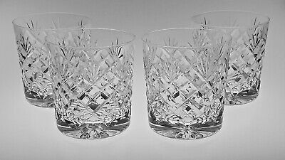 Cc621 SET 4 QUALITY ENGLISH LEAD CRYSTAL 3 1/2  LARGE WHISKY TUMBLERS • 45£