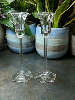 Pair Of Crystal,cut Glass Candlesticks,in PRISTINE CONDITION,with Free Candles • 6.50£
