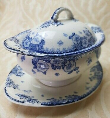 Antique 1901 - Furnivals Limited Blue White English Rose  Tureen Lid Plate • 23£