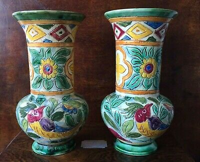 Vintage Pair 1930s Beswick Sgraffito Venetian Ware Vases 7 Inch Shape 775 • 59.95£