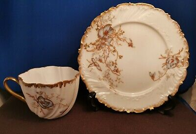 Antique 19th Limoges / Sevres Porcelain Cup & Saucer Painted With Raised Gold  • 57.99£