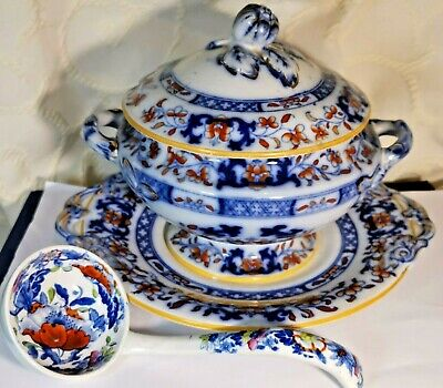 Antique Minton Ironstone Sauce Tureen, With Stand And Ladle Imari Flow Blue  • 74.99£