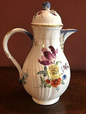 C1775 STUNNING MEISSEN PORCELAIN DOT PERIOD RIBBED COFFEE POT&COVER, ROSE KNOP  • 17£