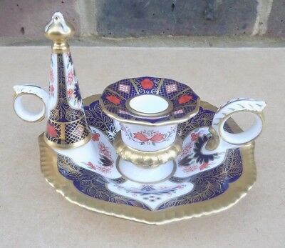 ROYAL CROWN DERBY Old Imari Chamberstick With Snuffer • 150£