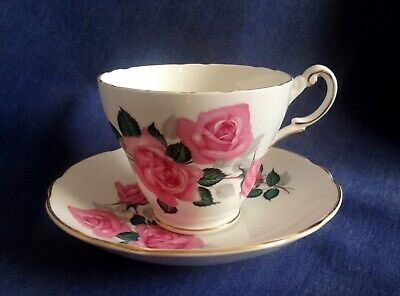 Regency Bone China. A Very Pretty Cup And Saucer. Pink Roses. • 1.50£