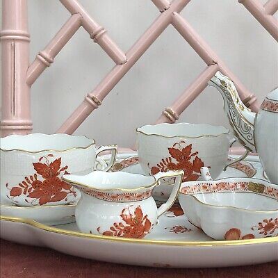Lovely Herend Apponyi (Chinese Bouquet) Rust Teaset • 475£