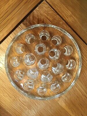 Vintage 19 Holes Clear Glass Flower Frog • 6£