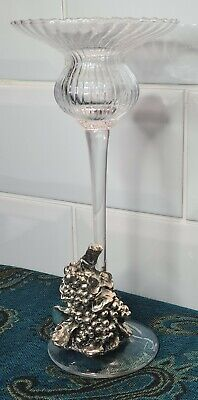 Vintage Glass Candlestick With Metal Clasp. • 14.99£