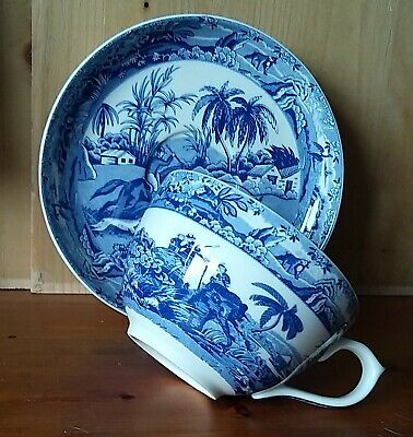 Lovely Large' Indian Hunting' Blue & White Cup And Saucer By Spode New No Box • 10.99£