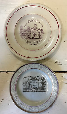 VICTORIAN ANTIQUE Pottery Child's Plates. Mother Daughter. AF • 5£