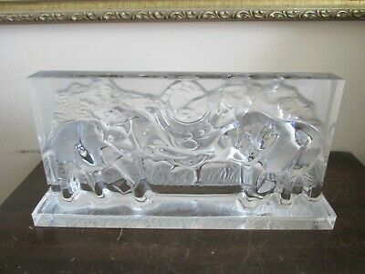 Baccarat Crystal Base For Mantel Clock Elephants Signed  • 256.01£