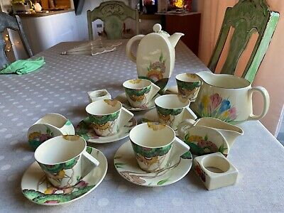 Clarice Cliff Viscaria 6 Cup Coffee Service And Crocus Jug RARE And MINT. • 1,500£