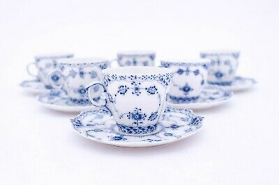 6 Cups & Saucers #1037 - Blue Fluted Royal Copenhagen Full Lace  • 4.05£