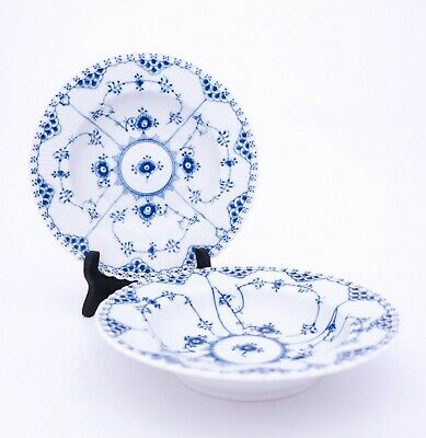 2 Deep Plates #1079 - Blue Fluted - Royal Copenhagen - Full Lace - 2nd Quality • 0.73£