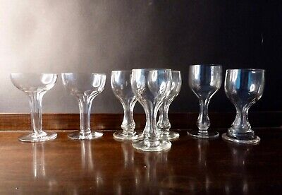 6x Antique Victorian Edwardian Hollow Stem Wine And Champagne Glasses, Mixed Lot • 29£