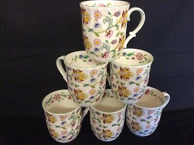 6 Quality Mugs In Haddon Hall  Chintz Design Made In ENGLAND  Romany  Interest • 35£
