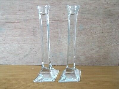 Pair Of Glass Candlesticks COLLECT BR8 • 15£