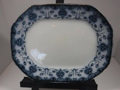 Antique F & Sons Ford Flow Blue Oxford Platter Burslem 14  X 11  Late 1800's • 147.23£