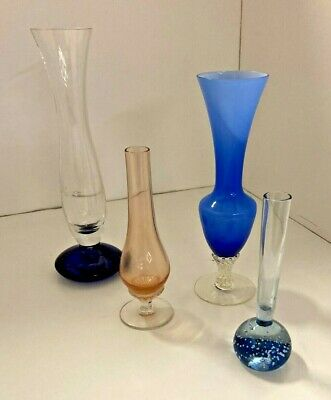 Vintage Selection Of 4 Studio Glass Vases • 25£