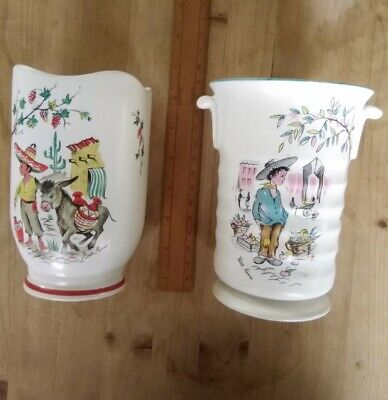 2x CROWN DUCAL Ware Vases: Petit Pierre & Little Pedro With Donkey. 6  Tall. Vgc • 15£