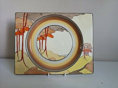 Clarice Cliff Bizarre  Coral Firs  Biarritz Dinner Plate • 249£