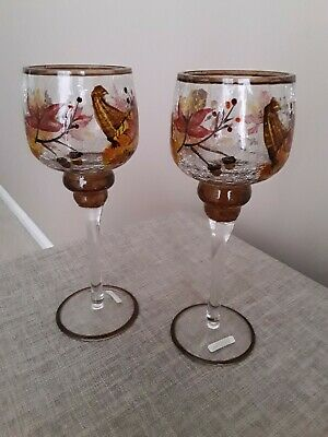 Pair Of Stemmed Glass Patterned Ornaments - New And Boxed • 8£